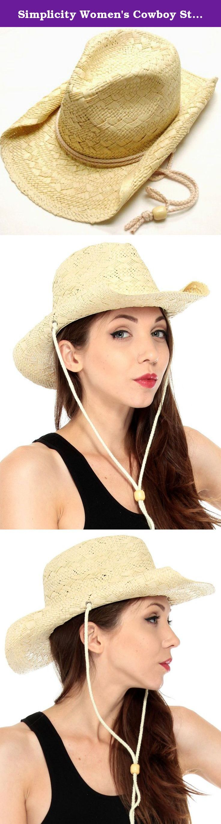 """Simplicity Women's Cowboy Straw Hat with Curled Side Brim Natural. Classic cowboy hat with a stylish rolled brim and adjustable chin strap with wooden bead. This design comes with an elastic sweatband and a plastic wired tip. Material: Synthetic Straw Size: Circumference: 22"""", Height: 5"""", Brim: 3.25"""" Package Includes: 1 x Straw Hat ."""