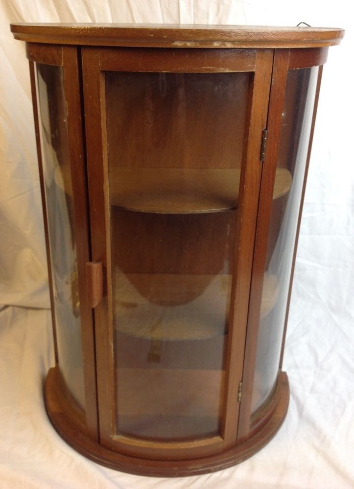 Vintage Miniature Curved Glass Wood Curio Cabinet Table Wall Shelf