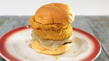 Monterey Jack Burger with Ranch Onion Rings Recipe by Michael Symon - The Chew