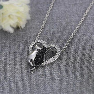 Lovely Couple Cats Heart Crystal Pendant Jewelry Women Necklace Gift at Banggood
