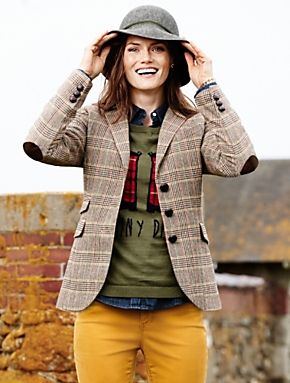 Highland Plaid Blazer, hat, cute sweater. I'm not nuts about the color of those pants, though!