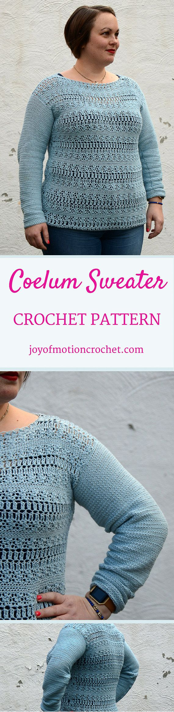 Coelum Sweater Crochet Pattern  ★ Crochet pattern for the Coelum Sweater, a woman's spring & summer sweater. ★ Perfect to throw over your top during those warmer months! ★ XS-XL. ★ Skill level: EASY ★ Language: English / US crochet terms.  The Coelum Sweater Crochet Pattern makes an easy, but detailed sweater. Consequently it can be made quickly & are perfect for spring & summer. You'll easily stitch it up in just a few days, because you don't need to do difficult increase or...