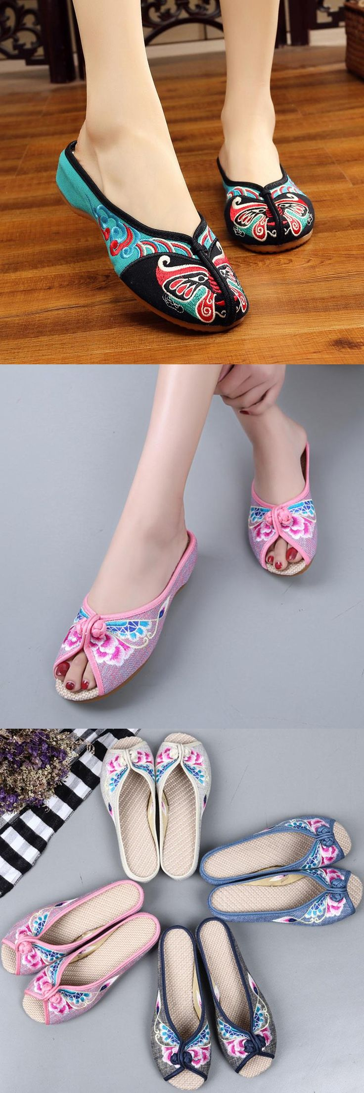Summer Retro embroidery shoes women slippers peep-toe home slippers oxfords shoes women slides Flip flops mujer flats sandals