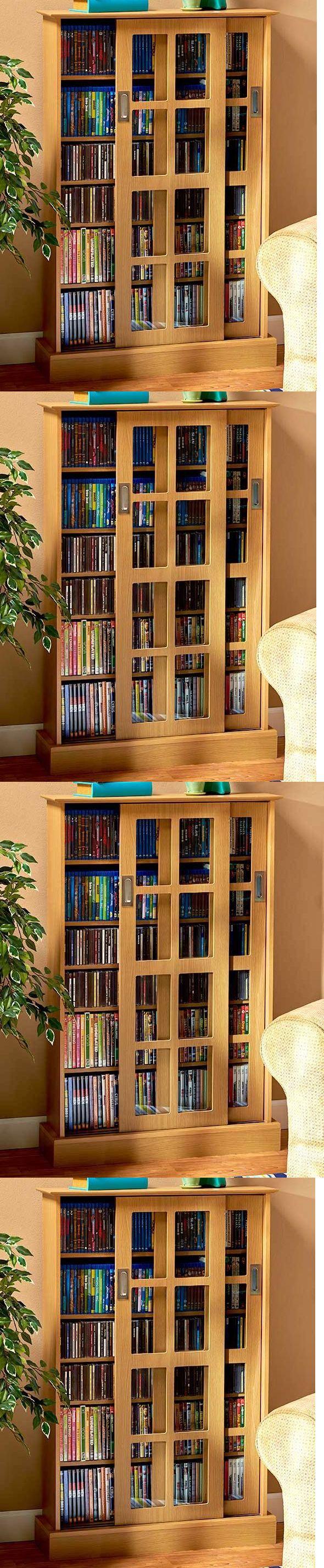 Cd Storage Tower  Sliding Door Bookshelf