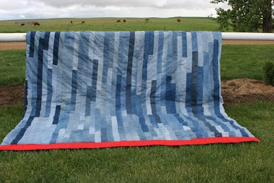 denim quilt. [strips instead of squares] thinking this for the cottage bedroom??