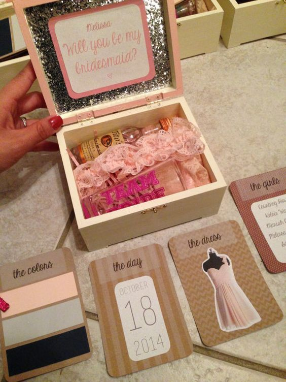 25 best bridesmaid boxes ideas on pinterest bridesmaid proposal box wedding bridesmaids. Black Bedroom Furniture Sets. Home Design Ideas
