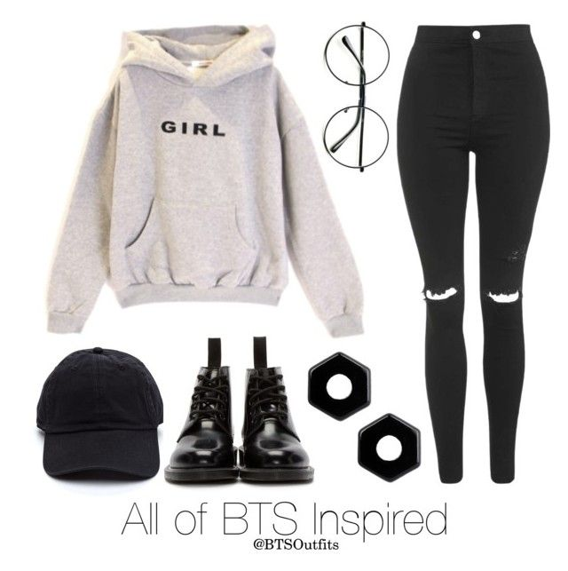 """All of BTS Inspired Outfit"" by btsoutfits ❤ liked on Polyvore featuring Retrò, Dr. Martens, Topshop and Marc by Marc Jacobs"