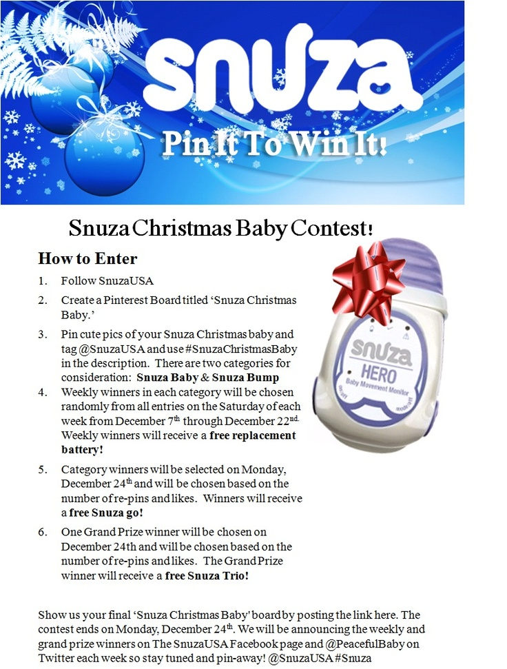 Show off your Snuza Baby or Baby Bump for a chance to win!  Eleven Prizes are up for grabs!  #pinittowinit  #contest  #baby  #christmas