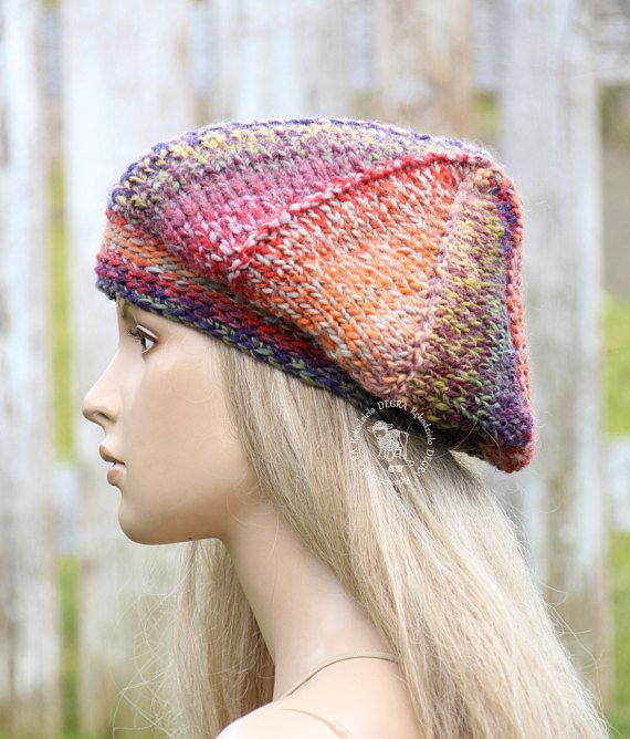Knitted french beret Boho beret Winter hat Rainbow boho beret
