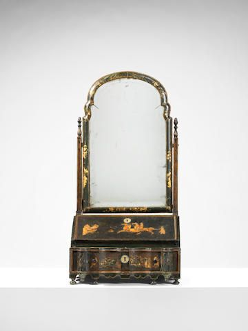 date unspecified A QUEEN ANNE GREEN JAPANNED TOILET MIRROR £ 3,000 - 5,000 US$ 4,200 - 7,000. unsold