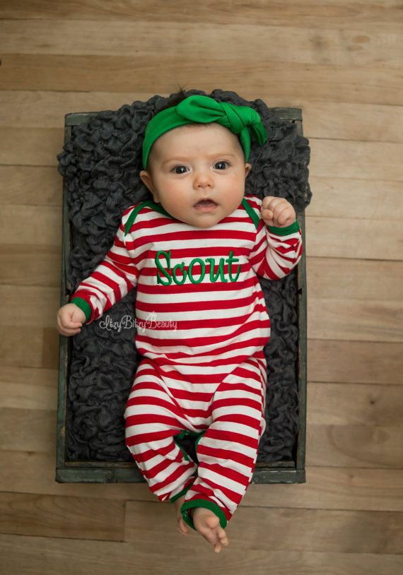 Girl or boy christmas pajamas embroidered by Itzybitzybeauty