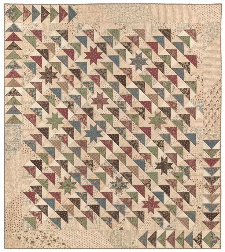 Due South pattern from Miss Rosie's Quilt Co. what a neat setting - love the diagonal look and the stars in between the flying geese!
