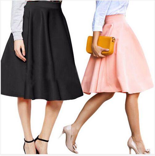 2016 горячая новинка женщин старинные твердого высокая талия плиссированные до колен юбки розовый черный красный платье-линии джокер юбки