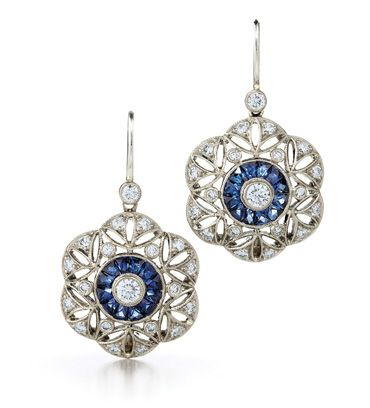 Juno sapphire and diamond earrings from the Kwiat Vintage Collection