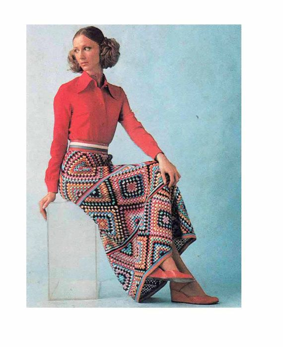 Absolutely fabulous to crochet for Xmas! An amazing long skirt from the 70s, of granny squares joined together-easy make & great for using up your yarn stash:) ♥♥♥Love this item? Dont forget to add it to your favourites♥♥♥ ************************************************************************* PLEASE NOTE THIS IS A PDF PATTERN - NOT THE FINISHED SKIRT OR THE ORIGINAL PATTERN ************************************************************************ Instructions for size 36/38 inch hi...