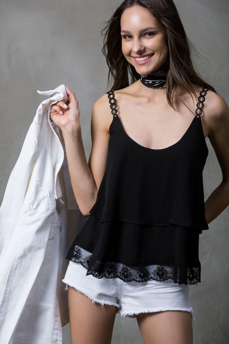 Siyah Bluz MLWSS16EP2230 TRENDYOLMİLLA | Trendyol
