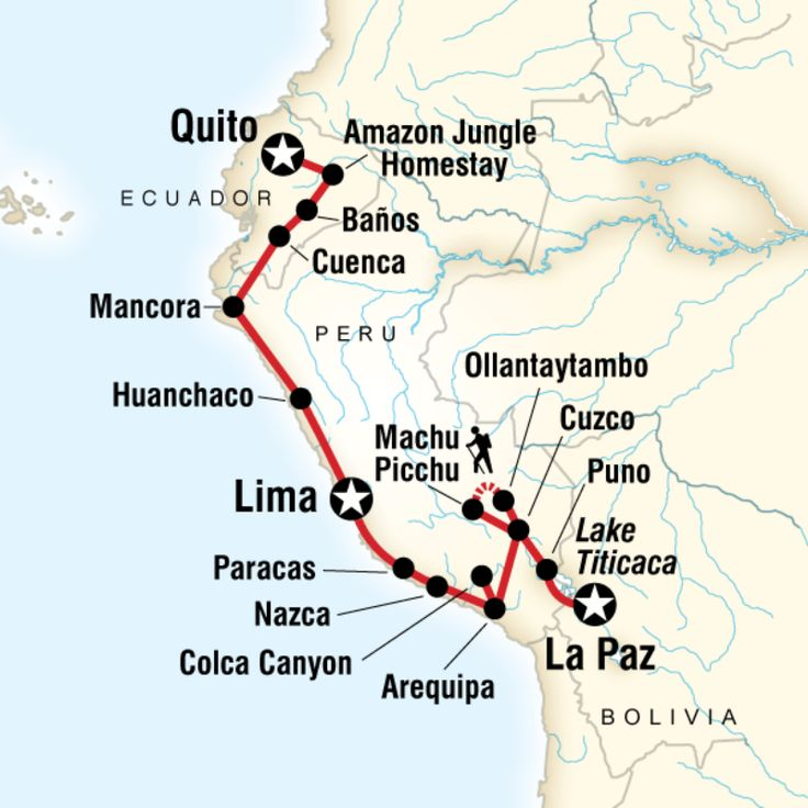 Route map for Quito to La Paz Adventure (SEQL)  35 days $3750