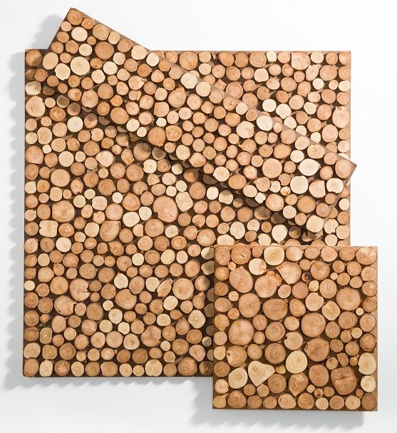 : Sustento Design : POMI Apple Wood Tiles are made out of reclaimed scrap branches from the apple harvest that are manually collected, cut, polished and glued to a hot pressed wood hardboard with the use of a water base adhesive.