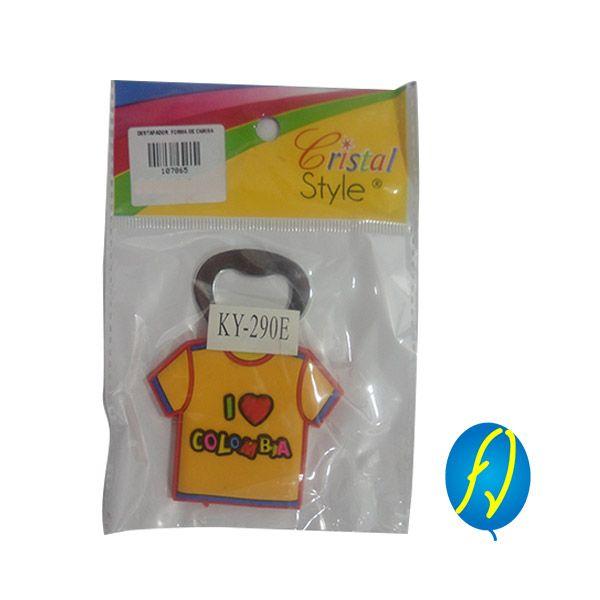 DESTAPADOR FORMA DE CAMISETA KY-290E, un producto más de Piñatería Fiesta Virtual de Colombia - lo puedes ver en http://bit.ly/1Ohqiu7. #FiestaVirtual