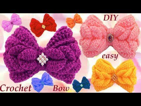 Como tejer con Ganchillo Crochet fácil lazos en punto de pétalos de flores - YouTube