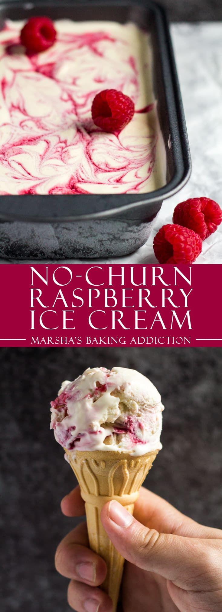 No-Churn Raspberry Ripple Ice Cream   marshasbakingaddiction.com @marshasbakeblog