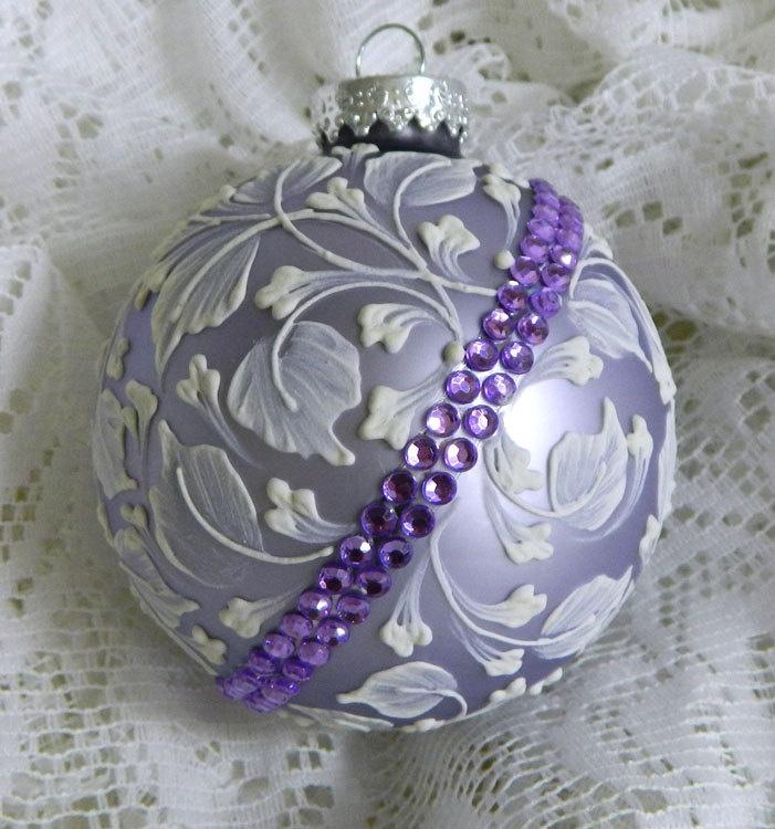 Lavender MUD Leaf Ornament with Purple Rhinestone Bling. $30.00, via Etsy.
