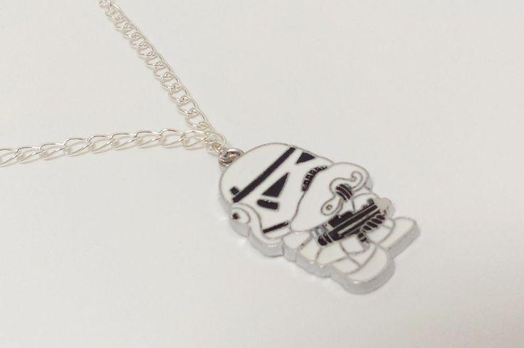 Star wars Clone Trooper war cute white charm figure chain geek necklace jewelry #Handmade #Charm