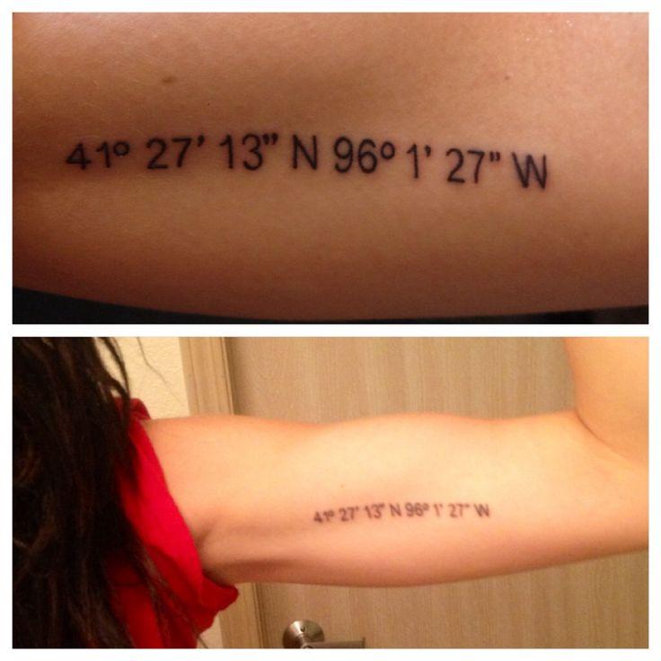 42 Stunning Coordinate Tattoo Design Ideas You Won T Regret: GPS Coordinates Tattoo. Love This.