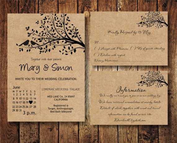 Wedding Invitation Suite template with birds on a by BSNPartyArt