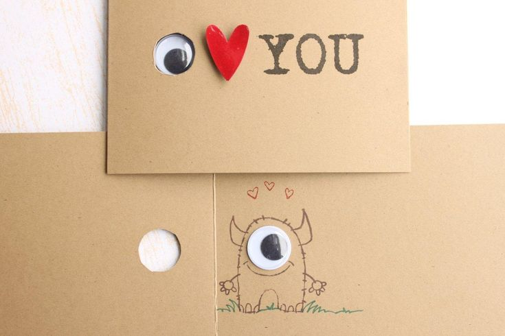 I Love You, Little Monster, Peek a Boo Card,  Eye Heart You Peek a Boo Card, Monster Inside. $4.50, via Etsy.