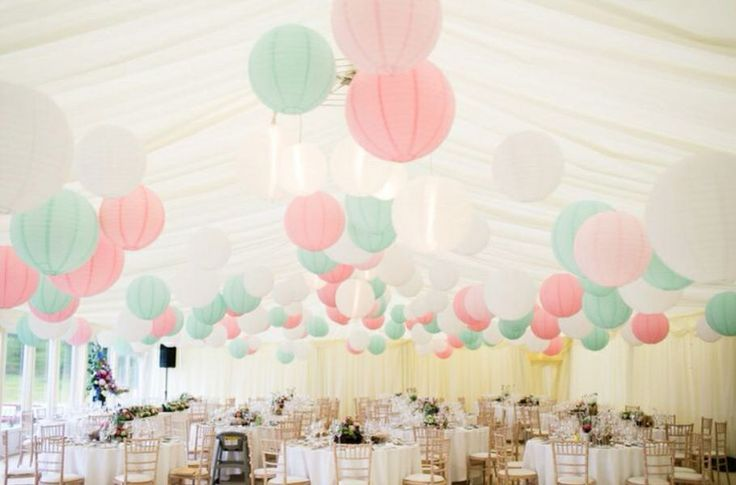 Mint and pinks wedding lanterns.  I like the pink and mint colors together