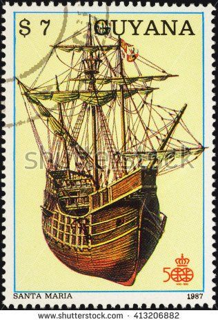 Christopher Columbus Boat  Santa Maria. Stamp printed in Guyana, circa 1987