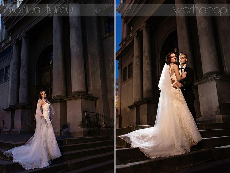 bride and groom night shooting