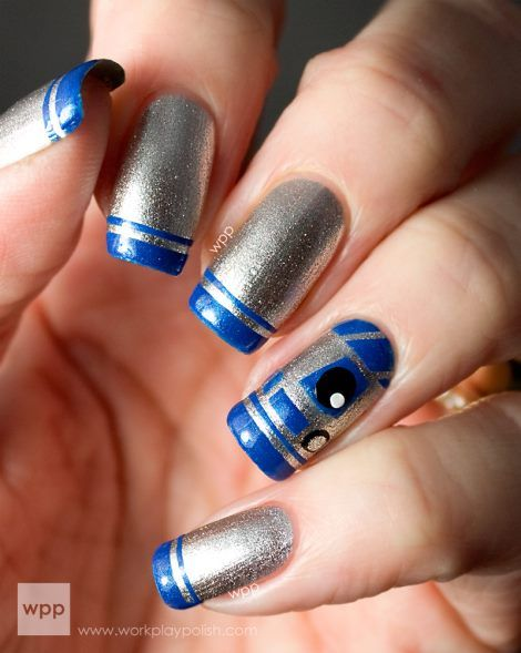 Star Wars R2-D2 French Manicure from Work, play, polish?! Zoya Nail Polish in Trixie, Tallulah, Snow White and Raven were used.