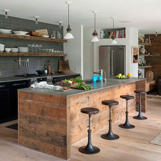 upcycled reclaimed wood kitchen island