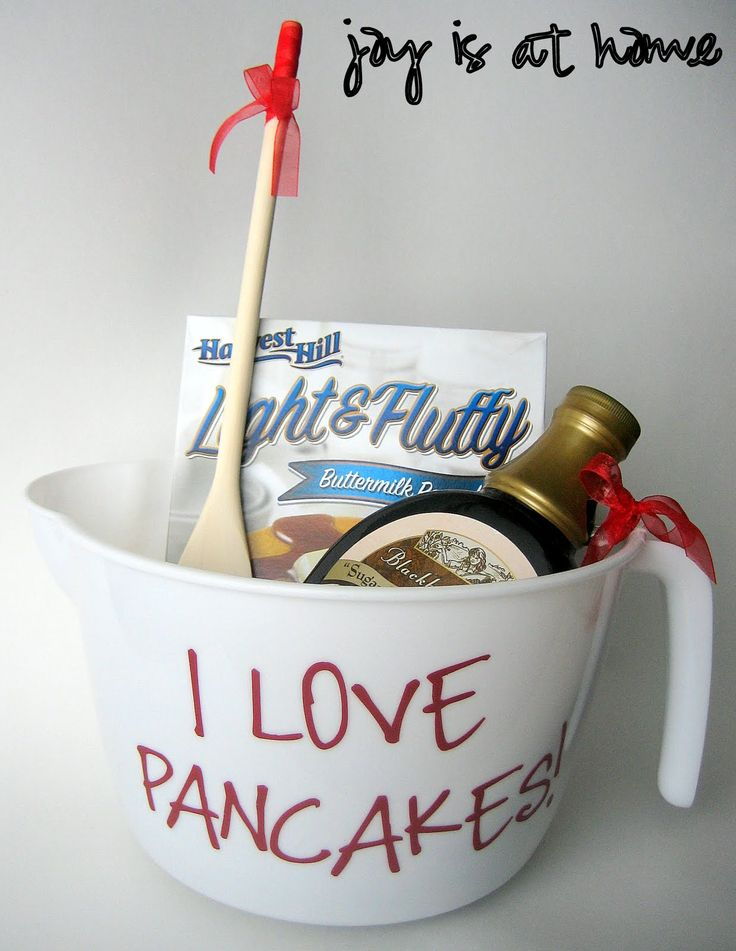 Bridal Shower - Door Prize idea: Pancake lover basket (measuring bowl, batter, syrup, wooden spoon)