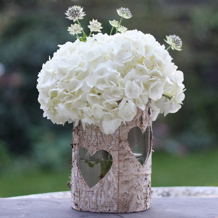 wooden birch bark vase or lantern by the wedding of my dreams | notonthehighstreet.com