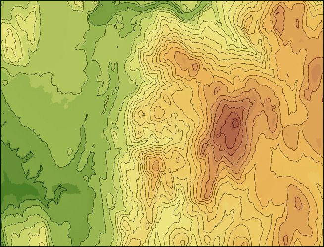 Contour Line Drawing With Color : Topographic world map with contour lines and color coded