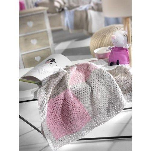 Κουβέρτα χειροποίητη λίκνου- αγκαλιάς από 100% βαμβάκι σε ροζ -μπεζ χρώμα για την άνοιξη και το καλοκαίρι. Διαστάσεις 80x110
