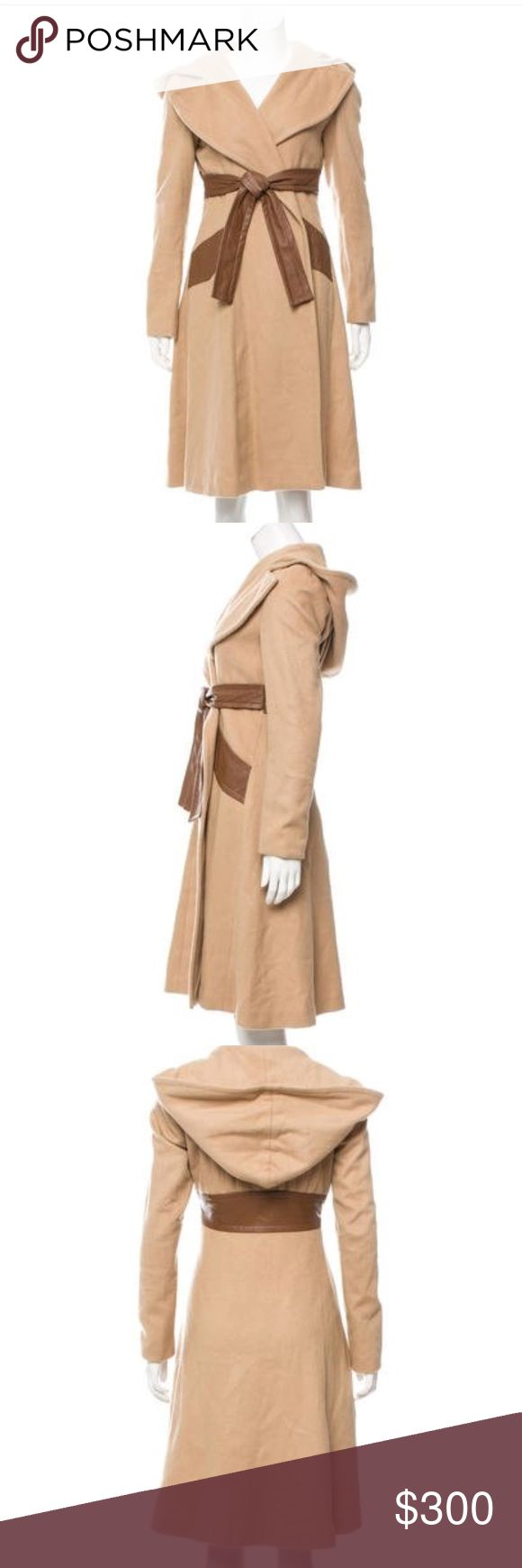 """Mara Hoffman wool leather Coat Camel Hoodie small GREAT CONDITION ONLY WORE ONCE OR TWICE  JUST GOT IT OUT FROM STORAGE SO WILL NEED A LIGHT DRY CLEANING AND READY TO GO NO TEARS or PILLING APPROX MEASUREMENTS   Bust: 36"""" Waist: 32"""" Shoulder: 16"""" Length: 40"""" Mara Hoffman Jackets & Coats"""