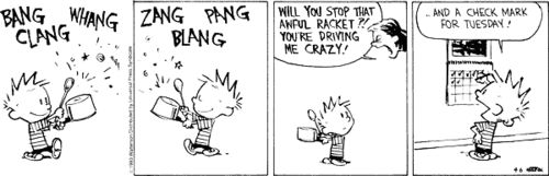 Calvin and Hobbes - Calvin doing his job