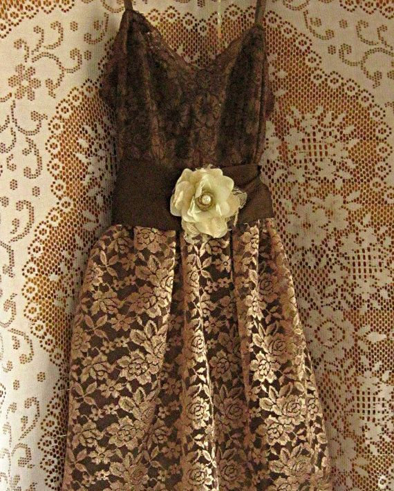 Brown lace dress bridesmaid dress mocha chocolate for Brown lace wedding dress
