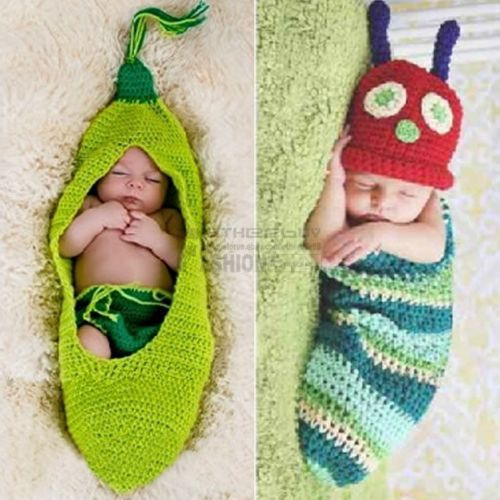 Newborn-12M Baby Infant Peas Caterpillar Outfit Crochet Knit Costume Photo Props