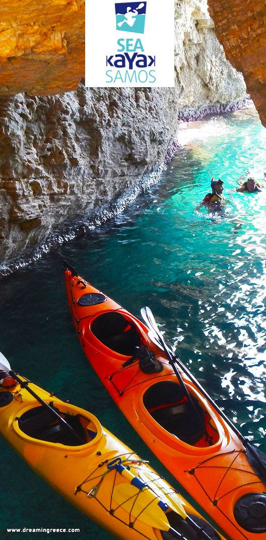 Sea Kayak Samos. Explore the most beautiful parts of Samos' coast line, discover hidden caves, relax in secluded beaches, snorkel in crystal clear warm waters and enjoy the healthy local products of our packed lunch - http://www.dreamingreece.com/activity/sea-kayak-samos #dreamingreece #travelguide #travel #sports #samos #dodecanese #greece #vacation #seakayaking