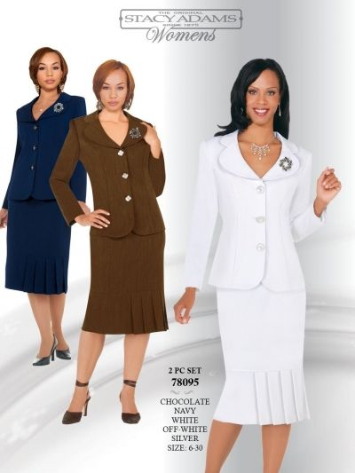 Ben Marc Stacy Adams 78095 Womens Church Usher Suit- Two piece women's usher church suit features a 25 inch jacket and a 28 inch skirt.