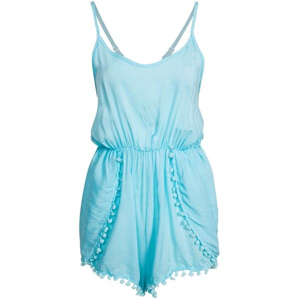 Hot Anatomy Ball Fringe Beach Playsuit (68 CAD) ❤ liked on Polyvore featuring jumpsuits, rompers, playsuit, romper, shorts, dresses, beach wear, blue, swimwear and womens-fashion