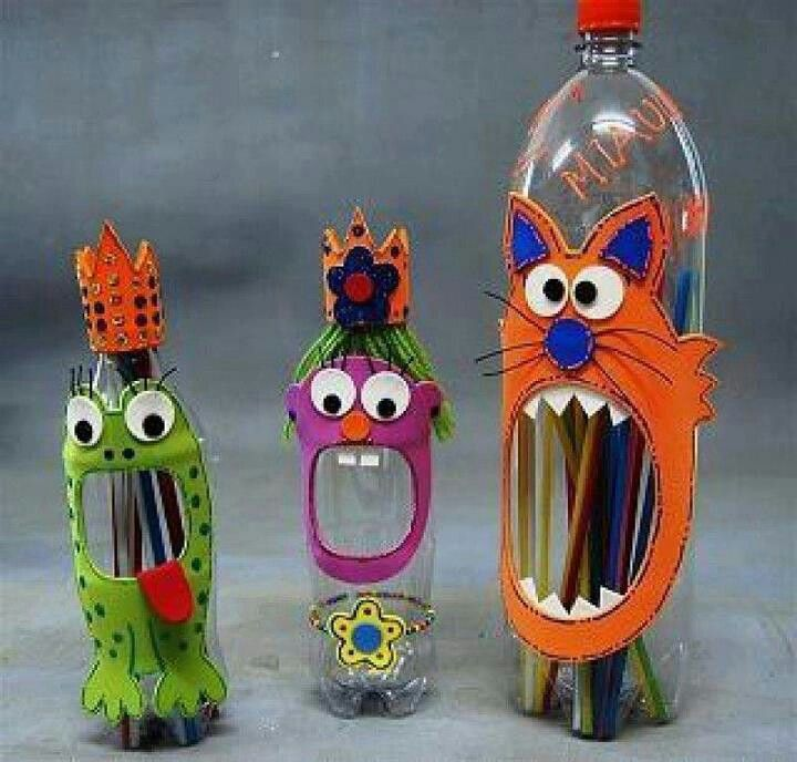 Love plastic bottles for crafts and this fun and colorfull idea would be great in the Kids bathroom to store their toothpaste and toothbrushes in.