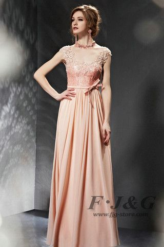 2014 Pink Appliques Ribbons Backless Prom Dress 30682