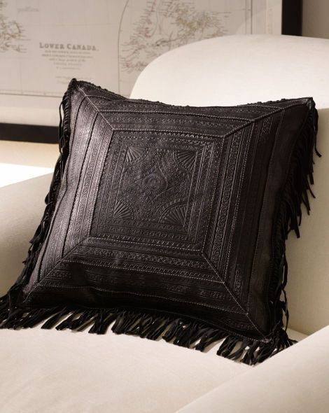 black leather decorative pillow with fringe
