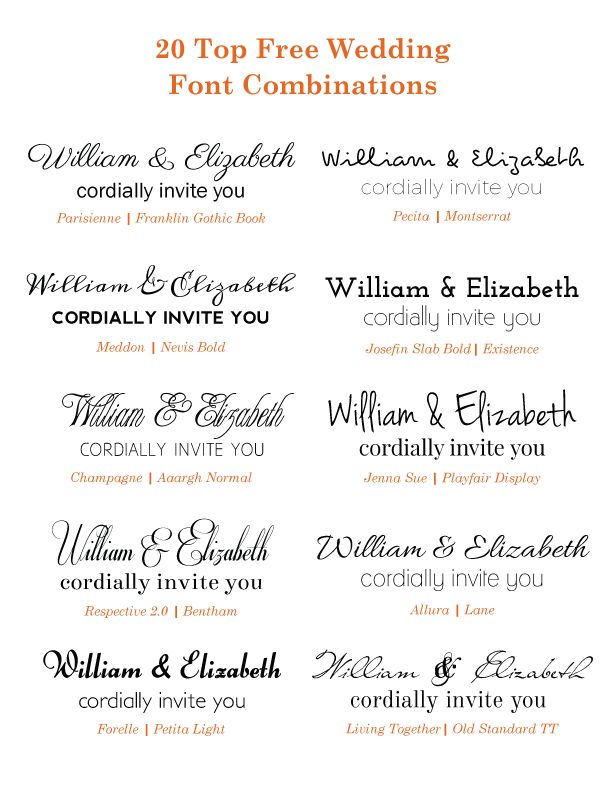 Check out these free Google wedding font combinations if you are planning on DIY wedding invitations! After researching some of the classic to modern fonts, we've combined a sampling of just a few of our favorites.